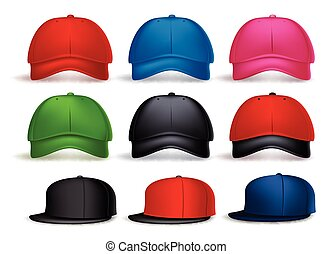 realista, gorra, conjunto, beisball, 3d