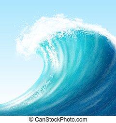 realista, grande, mar, onda