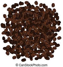 realista, ilustración, de, granos de café