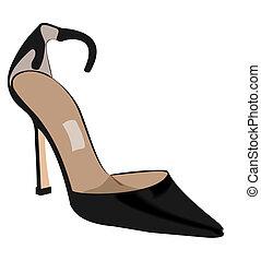 realista, ilustración, de, mujer, zapato