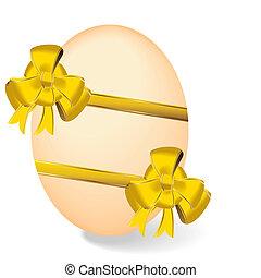 realista, ilustración, por, huevo de pascua, con, verde, arco, -, vector