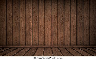 realista, interior, habitación vacía, de madera