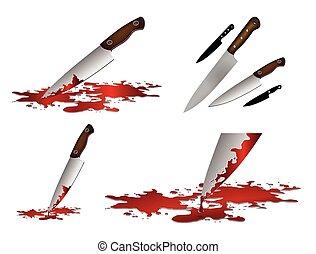realista, knife., sangriento
