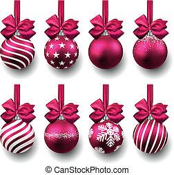 realista, magenta, conjunto, navidad, balls.