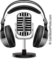 realista, micrófono, auriculares, retro