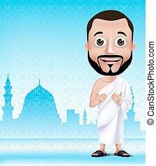 realista, musulmán, carácter, hombre