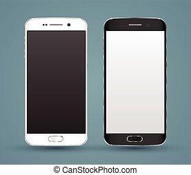 realista, nuevo, smartphones, mockups