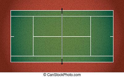 realista, pista de tenis, ilustración, textured
