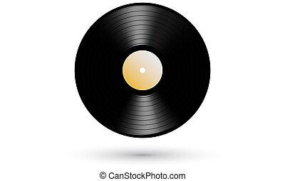 realista, registro, vinilo, elepé, nuevo, gramófono, icono