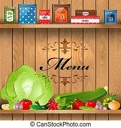 realista, sano, estantes, de madera, alimento, delicioso