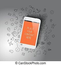 realista, smartphone, plantilla, con, plano de fondo, iconos