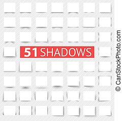 realista, sombra, conjunto, efectos, transparente