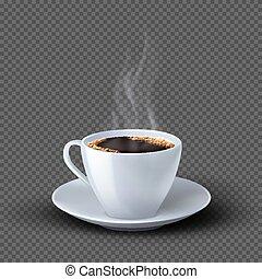 realista, taza, aislado, café, fondo blanco, humo, transparente