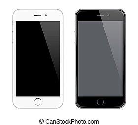 realista, teléfono, vector, móvil