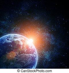 realista, tierra de planeta, en, espacio
