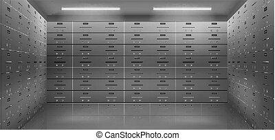 realista, vector, cámara acorazada, depósito, seguro, cajas