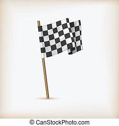 realista, vector, carreras, a cuadros, flag.