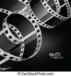 realista, vector, carrete, película