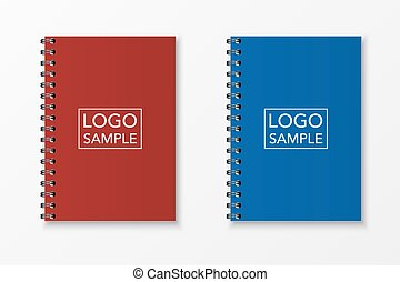 realista, vector, conjunto, cuaderno