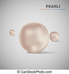 realista, vector, conjunto, perlas