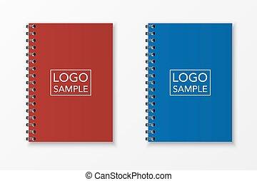 realista, vector, cuaderno, conjunto