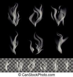realista, vector, humo