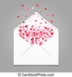 Realistc white paper envelope with colorful hearts confetti....