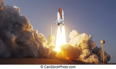 Realistic 3D Animation of Space Shuttle launching in slow...
