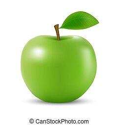Realistic 3d apple Isolated - Realistic 3d green apple ...
