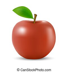 Realistic 3d apple Isolated - Realistic 3d red apple ...
