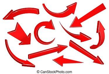 Realistic 3d arrows. Curved upward pointing arrow, down pointer shape and forward arrow vector set