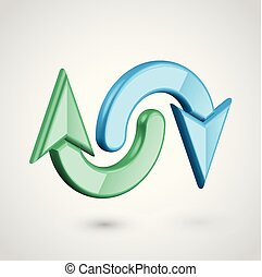 Realistic 3D arrows, vector illustration