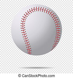 Realistic 3d baseball ball with red stitches. Vector illustration, eps 10