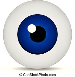 Realistic 3d blue eyeball isolated on white background. Human iris icon. Medicine template. Vector illustration for design.