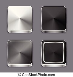 realistic 3d brushed metal buttons or icons set