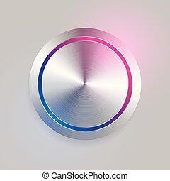 realistic 3d brushed metal circular button