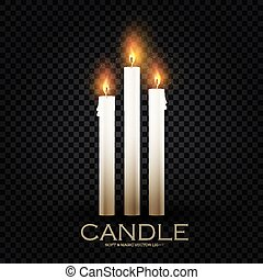 Realistic 3D burining wax & paraffin candles. Candle flame ...
