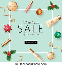 Realistic 3d Christmas holiday sale web banner template. Cosmetic makeup product ad decoration holly branches. New Year special offer square frame promotional poster vector illustration