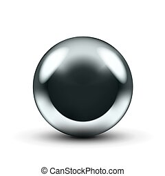 Realistic 3D Chrome Ball Isolated On White Background