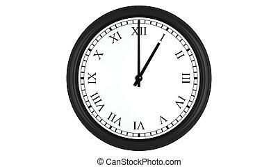 Realistic 3D clock with Roman numerals set at 1 o'clock -...