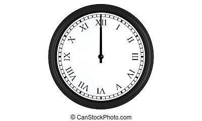 Realistic 3D clock with Roman numerals set at 12 o'clock