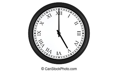 Realistic 3D render of a wall clock with Roman numerals set at 5 o'clock, isolated on a white background.