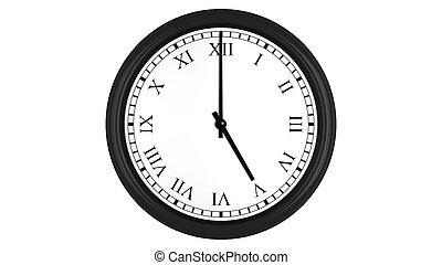 Realistic 3D clock with Roman numerals set at 5 o'clock -...