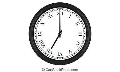 Realistic 3D clock with Roman numerals set at 7 o'clock -...