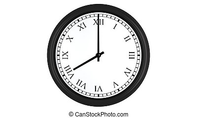 Realistic 3D render of a wall clock with Roman numerals set at 8 o'clock, isolated on a white background.