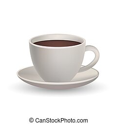 Realistic 3D Coffee Cup in Trendy Design. Cafe Symbol.