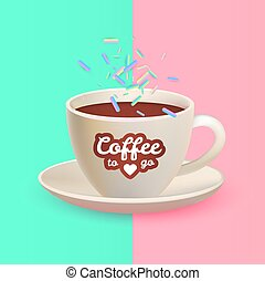 Realistic 3D Coffee Cup in Trendy Design. Cafe Symbol with...