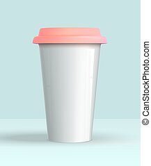 coffee cup white mockup - Realistic 3d coffee cup white...