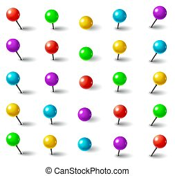 Realistic 3d color plastic push pins with round head and needle in different angles isolated vector set