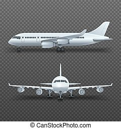 Realistic 3d detail airplane, commercial jet isolated vector illustration